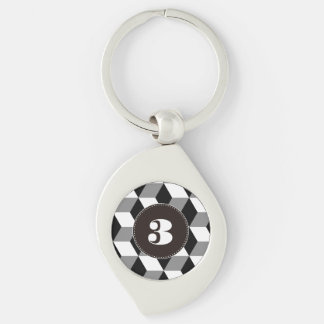 Grey, Black and White 3D Cubes Pattern Keychain