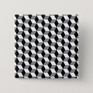 Grey, Black and White 3D Cubes Pattern Pinback Button