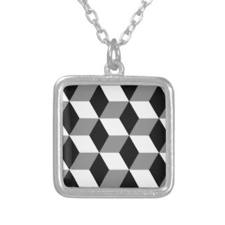 Grey, Black and White 3D Cubes Pattern Silver Plated Necklace
