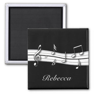 Grey black and white musical notes score 2 inch square magnet