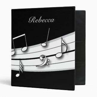 Grey black and white musical notes score 3 ring binder
