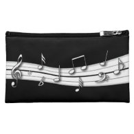 Grey black and white musical notes score cosmetic bags