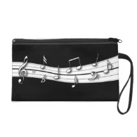 Grey black and white musical notes score wristlet purse