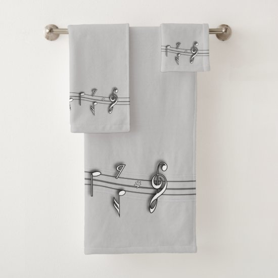 Grey black and white musical notes score. bath towel set
