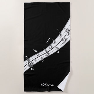 Grey black and white musical notes score beach towel