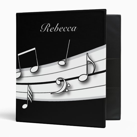 Grey black and white musical notes score binder