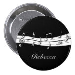 Grey black and white musical notes score pinback button