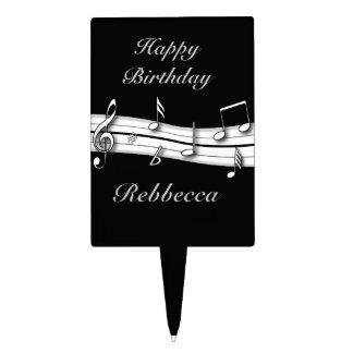 Grey black and white musical notes score rectangular cake pick