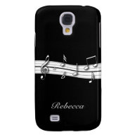 Grey black and white musical notes score galaxy s4 cover