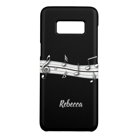 Grey black and white musical notes score Case-Mate samsung galaxy s8 case