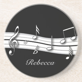 Grey black and white musical notes score coaster