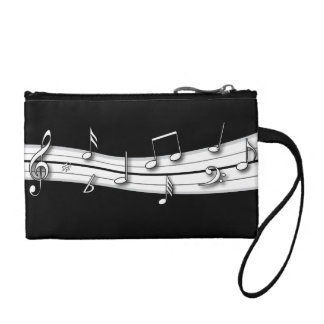 Grey black and white musical notes score coin purse
