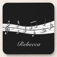 Grey black and white musical notes score drink coaster