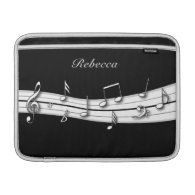 Grey black and white musical notes score MacBook air sleeve