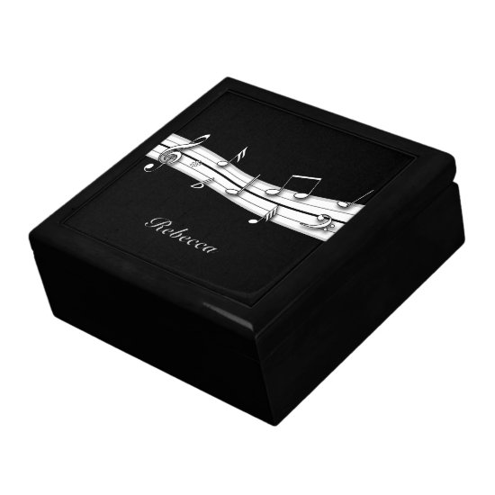 Grey black and white musical notes score jewelry box