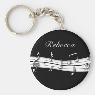 Grey black and white musical notes score keychain