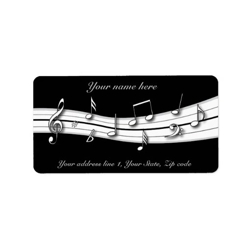Grey black and white musical notes score address label