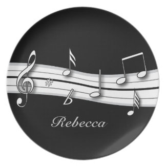 Grey black and white musical notes score melamine plate