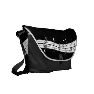 Grey black and white musical notes score messenger bag
