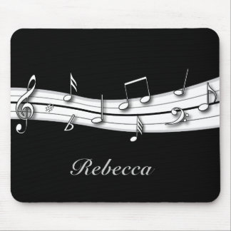 Grey black and white musical notes score mouse pad
