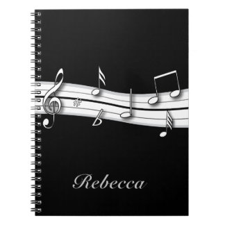 Grey black and white musical notes score note books