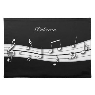Grey black and white musical notes score placemat