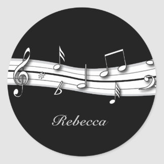 Grey black and white musical notes score sticker