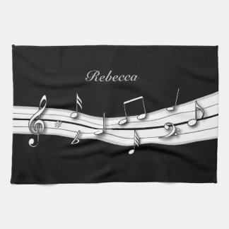 Grey black and white musical notes score towel