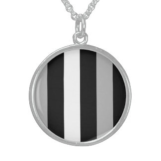 Grey Black And White Stripes Custom Necklace