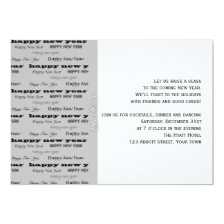 Grey Black and White Word Graphic New Years Eve Custom Announcements