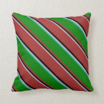 [ Thumbnail: Grey, Black, Brown, Green & Light Sea Green Lines Throw Pillow ]