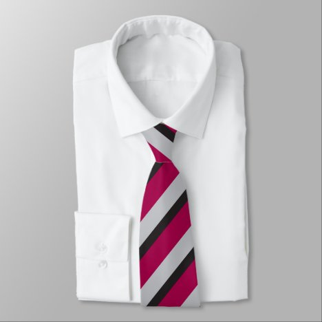 Grey Black & Burgundy Regimental Stripe Tie