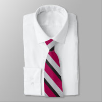 Grey Black & Burgundy University-Striped Neck Tie