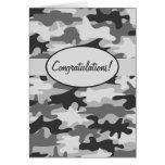 Grey Black Camo Camouflage Congratulations Custom Card