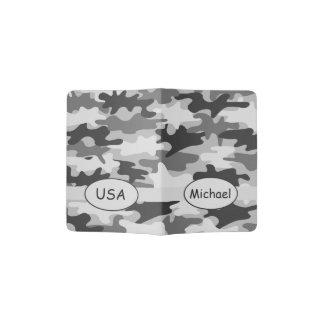 Grey Black Camo Camouflage Name Country Custom Passport Holder