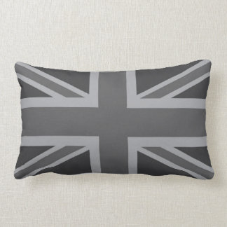 Grey Black Classic Union Jack British(UK) Flag Lumbar Pillow