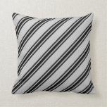 [ Thumbnail: Grey & Black Colored Striped Pattern Throw Pillow ]