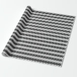 [ Thumbnail: Grey & Black Colored Striped Pattern Wrapping Paper ]