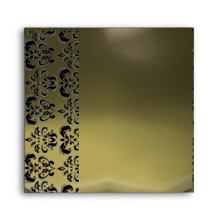 GREY BLACK DAMASK , RED RUBY Gold Envelope