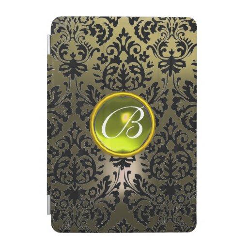 GREY BLACK DAMASK YELLOW GEMSTONE MONOGRAM Floral  iPad Mini Cover