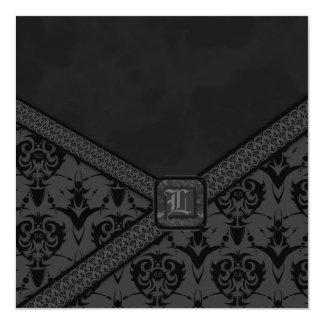 Grey & Black Goth Lace Wedding 5.25x5.25 Square Paper Invitation Card
