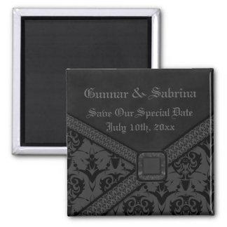 Grey & Black Goth Lace Wedding Fridge Magnet