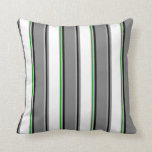 [ Thumbnail: Grey, Black, Gray, White, and Forest Green Colored Throw Pillow ]