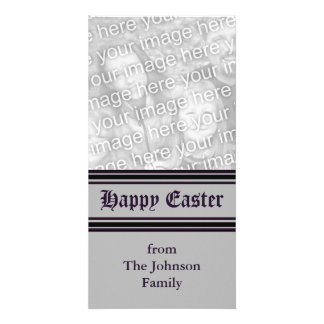 grey black Happy Easter Photo Card