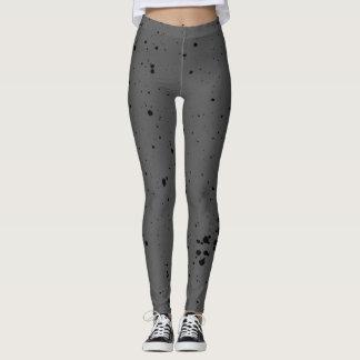 Grey Black Ink Spatter Leggings