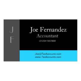 Grey Black Light Blue Professional Business Card