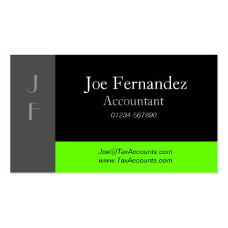 Grey Black & Lime Green Professional Business Card