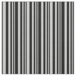 [ Thumbnail: Grey & Black Lines/Stripes Pattern Fabric ]