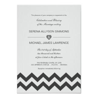 "Grey & Black Modern Chevron Wedding Invitations 4.5"" X 6.25"" Invitation Card"