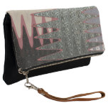 Grey Black Pink Abstract Clutch